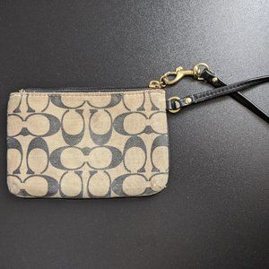 Coach Bags - Coach PVC Leather Corner Zip Wristlet - Dark Brown